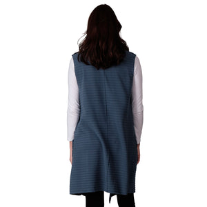 Le Moda Women's Sleeveless Pleated Open Front Fleece Vest Cardigan with Pockets at Linda Anderson. color_dusty_blue