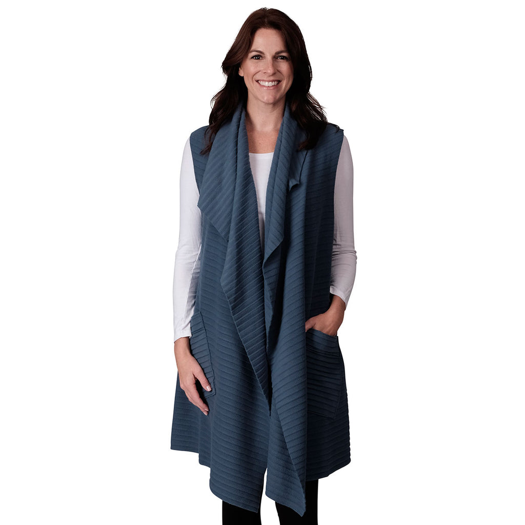 Le Moda Women's Sleeveless Pleated Open Front Fleece Vest Cardigan with Pockets
