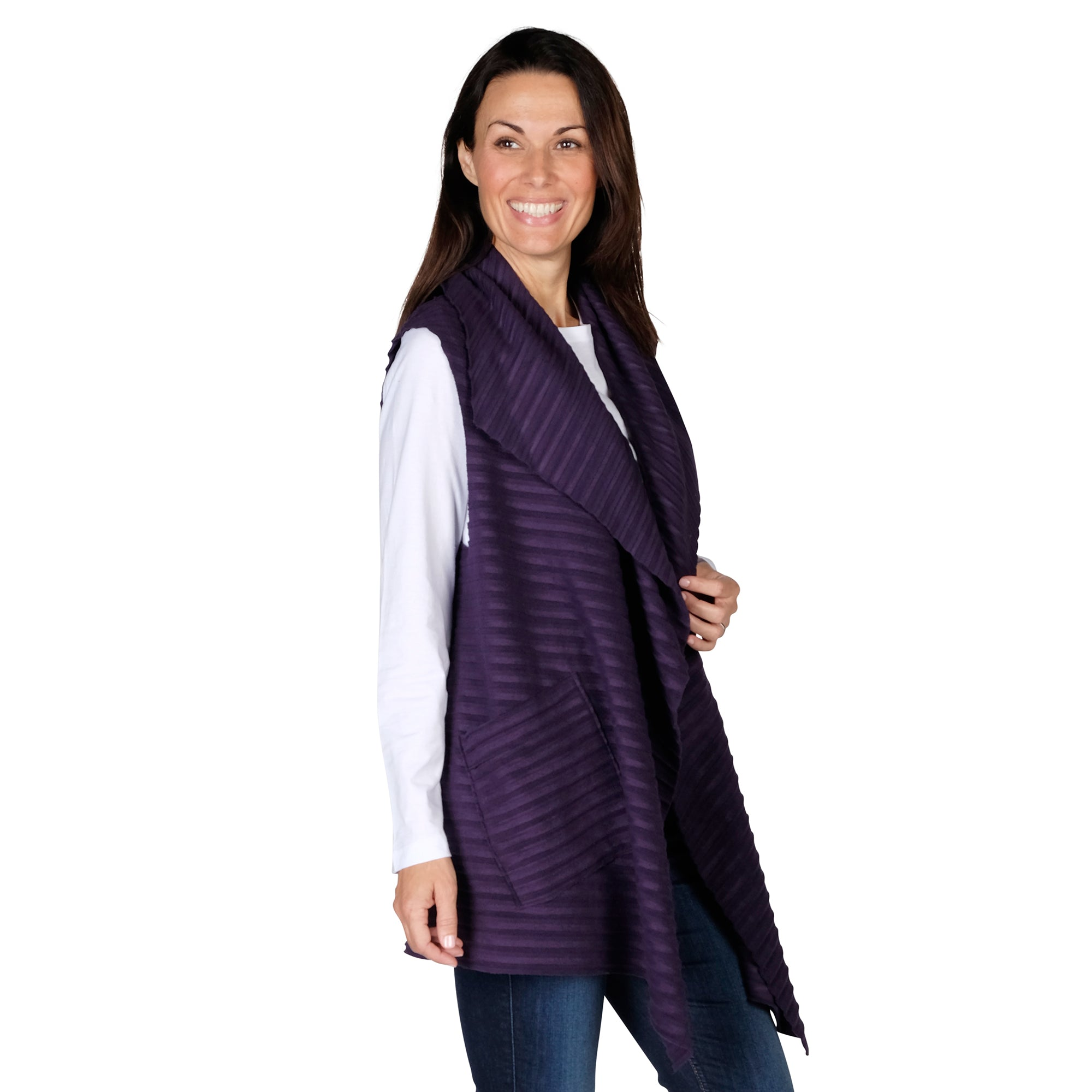 Le Moda Women's Sleeveless Pleated Open Front Fleece Vest Cardigan with Pockets at Linda Anderson. color_eggplant