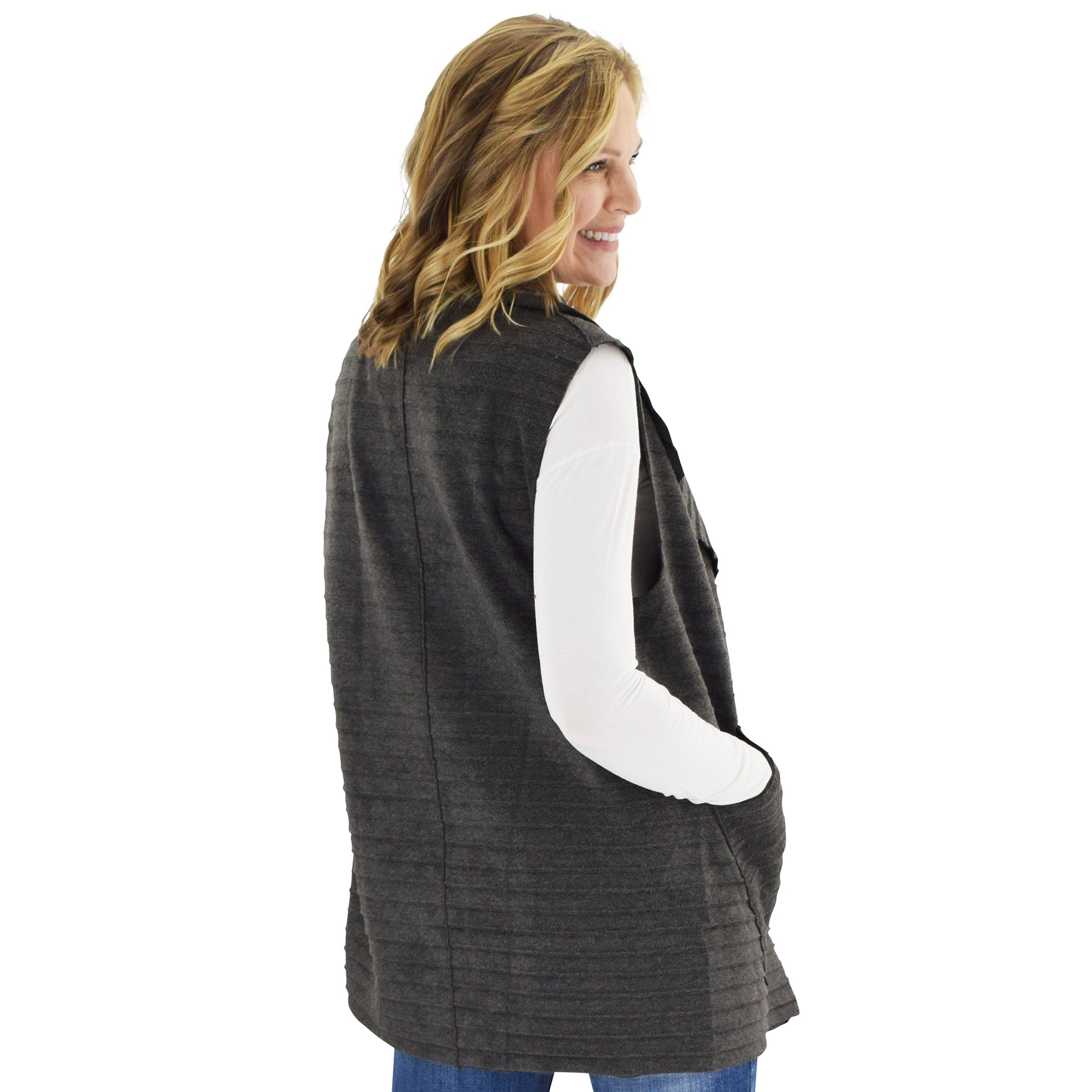 Le Moda Women's Sleeveless Pleated Open Front Fleece Vest Cardigan with Pockets at Linda Anderson. color_grey