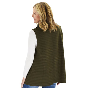 Le Moda Women's Sleeveless Pleated Open Front Fleece Vest Cardigan with Pockets at Linda Anderson. color_olive