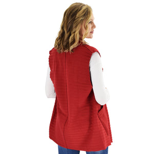 Le Moda Women's Sleeveless Pleated Open Front Fleece Vest Cardigan with Pockets at Linda Anderson. color_red
