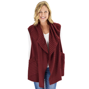 Le Moda Women's Sleeveless Pleated Open Front Fleece Vest Cardigan with Pockets at Linda Anderson. color_burgundy