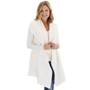 Le Moda Women's Sleeveless Pleated Open Front Fleece Vest Cardigan with Pockets at Linda Anderson. color_white