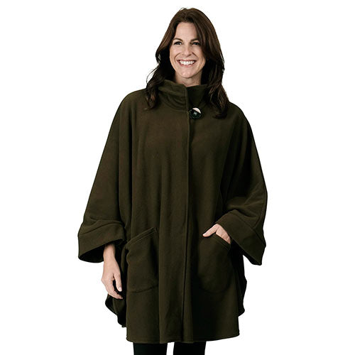 Fleece Wrap High Neck w/Big Button One Size Olive at Linda Anderson