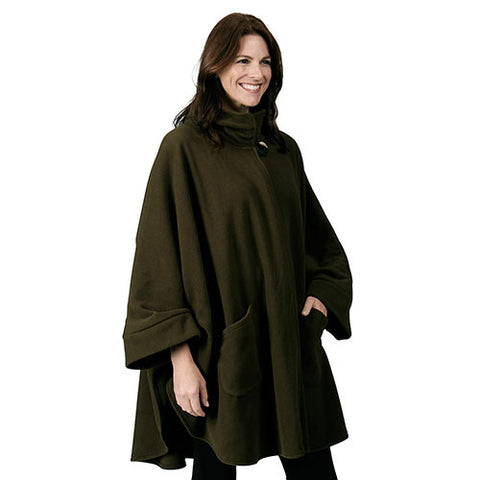 Fleece Wrap High Neck w/Big Button One Size Olive