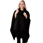 Load image into Gallery viewer, Le Moda Pleated Fleece Poncho with Shawl Collar at Linda Anderson. color_black
