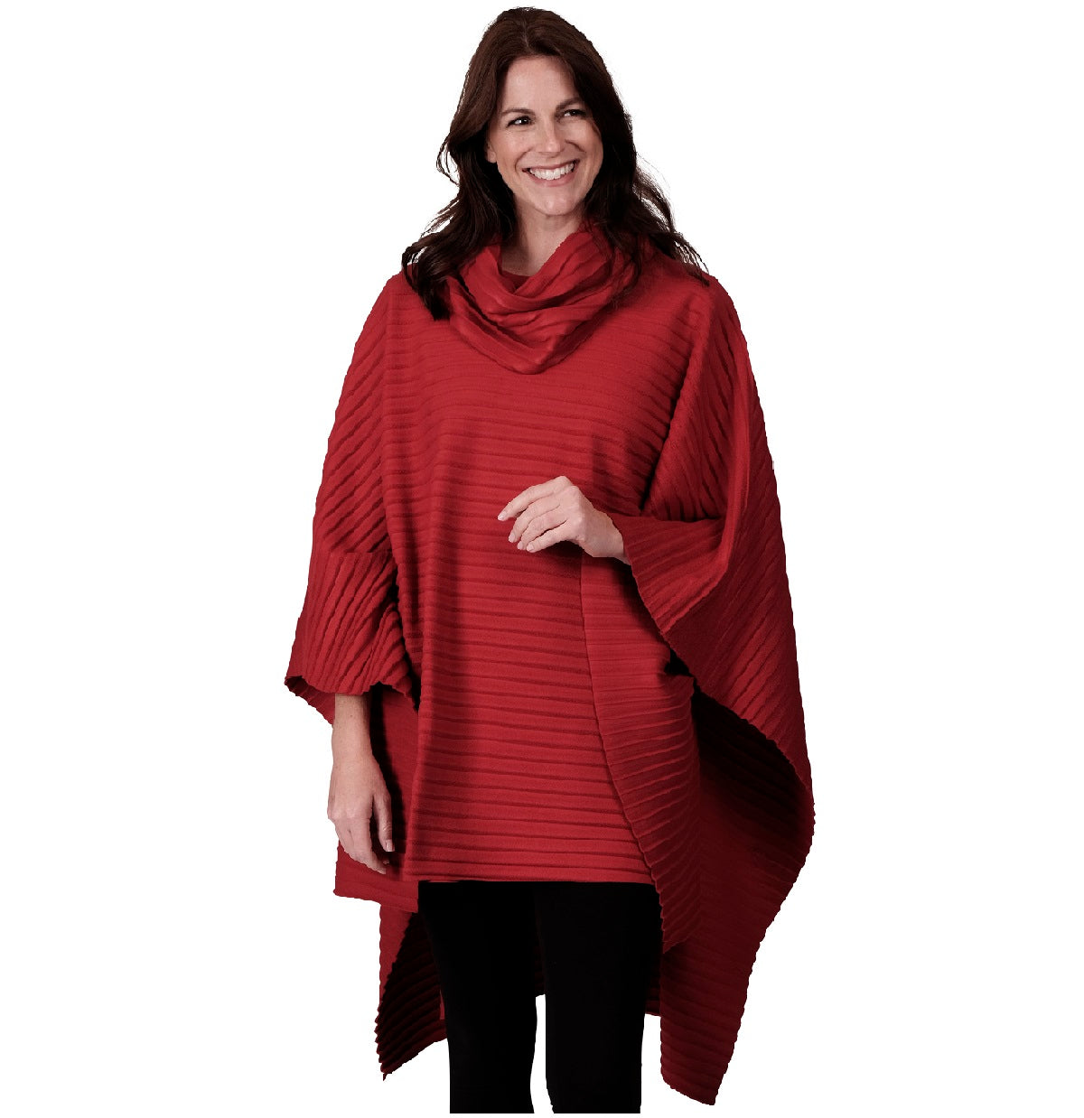 Le Moda Pleated Fleece Poncho with Shawl Collar at Linda Anderson. color_red