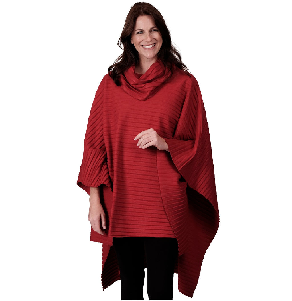 Le Moda Pleated Fleece Poncho with Shawl Collar at Linda Anderson