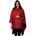 Load image into Gallery viewer, Le Moda Pleated Fleece Poncho with Shawl Collar at Linda Anderson. color_red