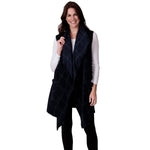 Load image into Gallery viewer, Le Moda Womens Window Pane Open Front Fleece Vest Cardigan at Linda Anderson