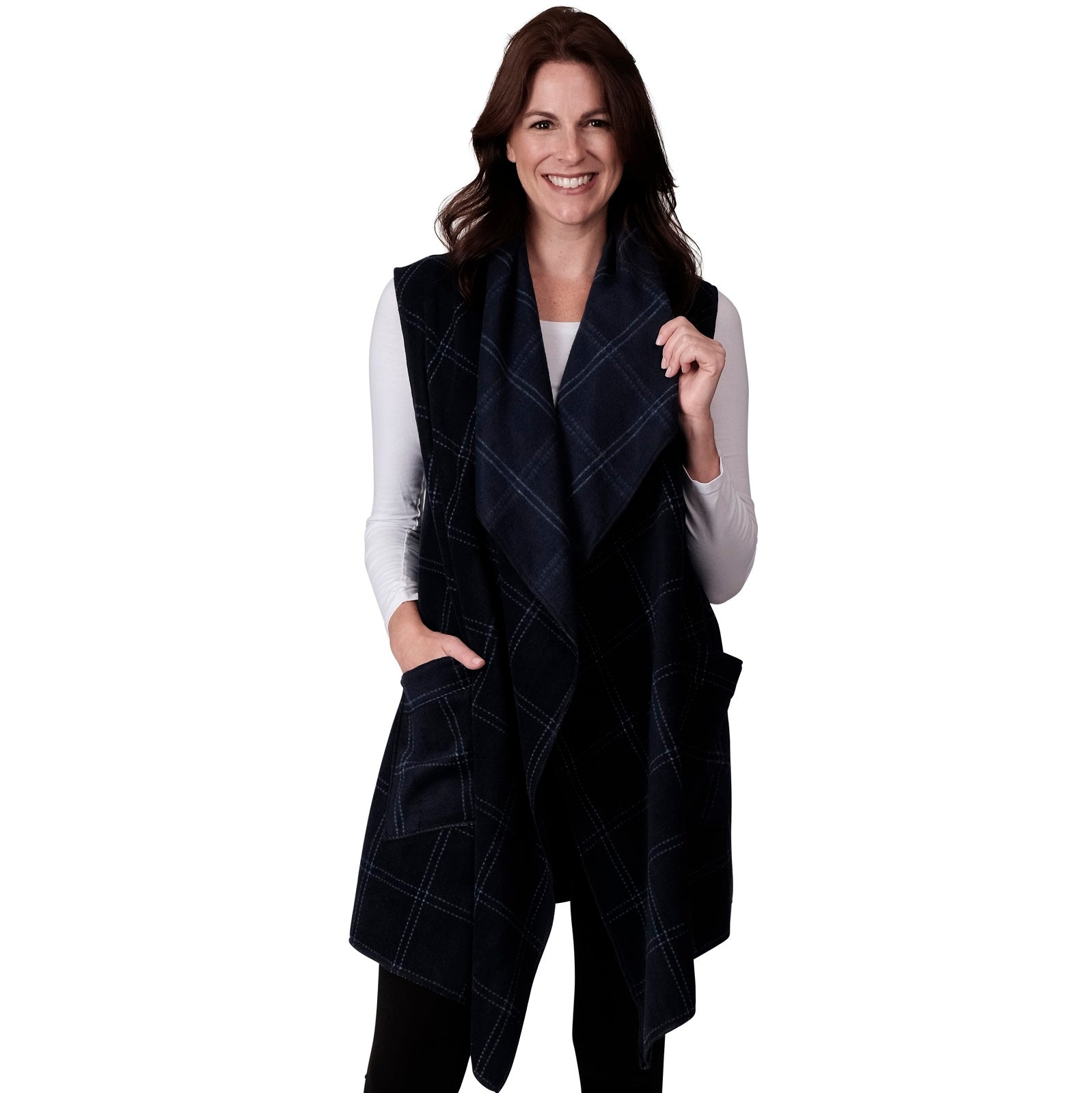Le Moda Womens Window Pane Open Front Fleece Vest Cardigan at Linda Anderson