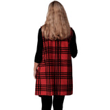 Le Moda Plaid Fleece Vest Red/Blk