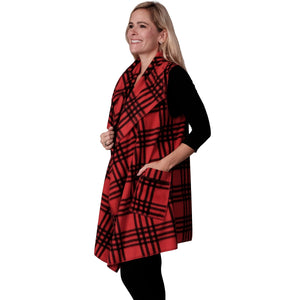 Le Moda Plaid Fleece Vest Red/Blk at Linda Anderson