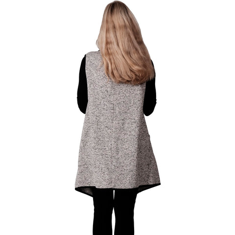 Le Moda Marled Knit Piped Vest Blk/Wht