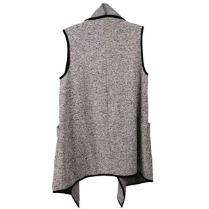 Le Moda Marled Knit Piped Vest Blk/Wht at Linda Anderson