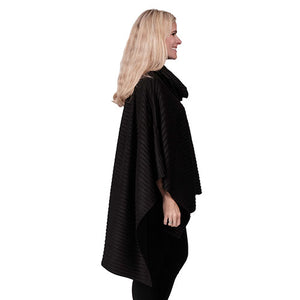 Le Moda Pleated Fleece Poncho with Shawl Collar at Linda Anderson. color_black