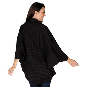 Le Moda Women's Plush Pleated Cozy Fleece Cocoon Cardigan - One Size Fits All at Linda Anderson color_black