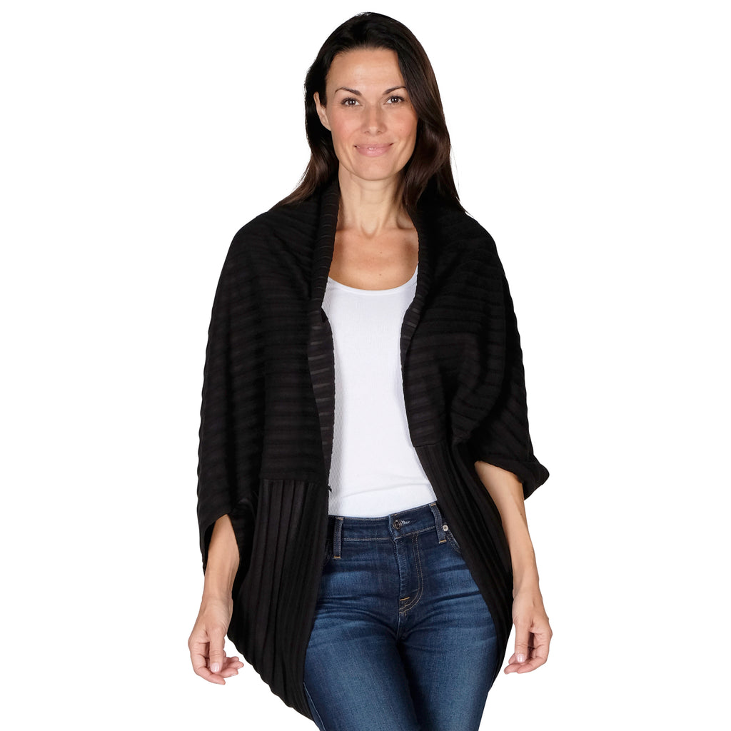 Le Moda Women's Plush Pleated Cozy Fleece Cocoon Cardigan - One Size Fits All