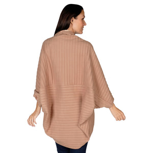 Le Moda Women's Plush Pleated Cozy Fleece Cocoon Cardigan - One Size Fits All at Linda Anderson color_camel