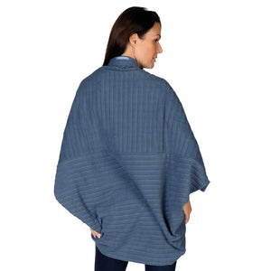 Le Moda Women's Plush Pleated Cozy Fleece Cocoon Cardigan - One Size Fits All at Linda Anderson color_dusty_blue