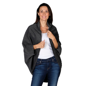 Le Moda Women's Plush Pleated Cozy Fleece Cocoon Cardigan - One Size Fits All at Linda Anderson color_charcoal