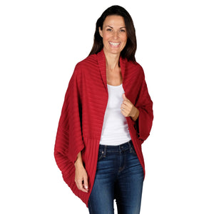 Le Moda Women's Plush Pleated Cozy Fleece Cocoon Cardigan - One Size Fits All at Linda Anderson color_red