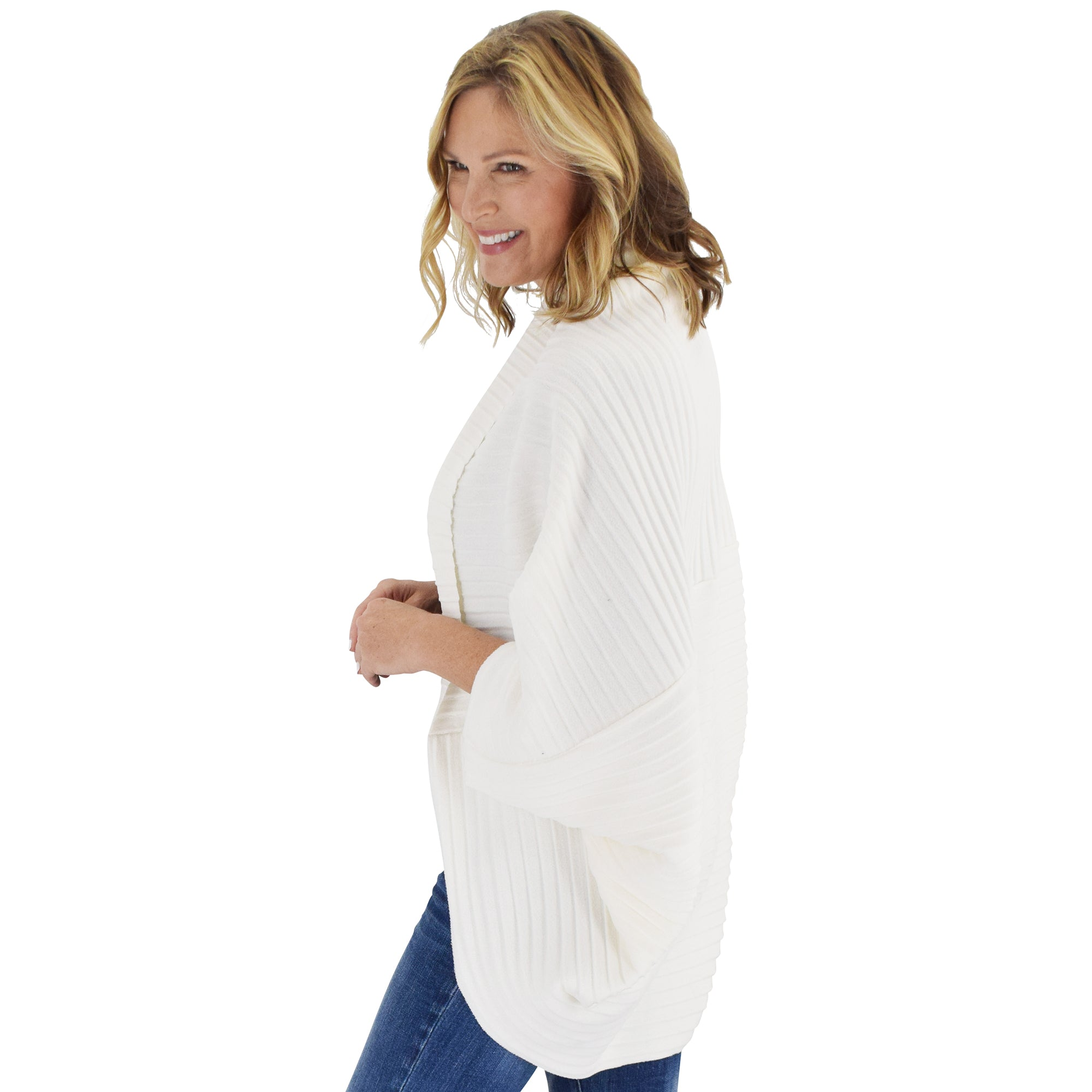Le Moda Women's Plush Pleated Cozy Fleece Cocoon Cardigan - One Size Fits All at Linda Anderson color_white