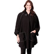 Fleece Wrap with Hoodie One Size Black