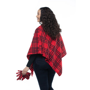 Elisa Red Plaid Cozy Coat Fleece Poncho and Gloves Set