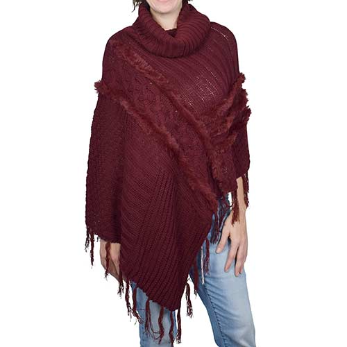 Le Moda Womens Faux Fur Trim Knit Poncho Wine