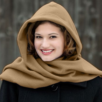 Fleece Womens Hooded Wraparound Scarf at Linda Anderson. color_camel