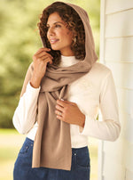 Load image into Gallery viewer, Fleece Womens Hooded Wraparound Scarf at Linda Anderson. color_camel