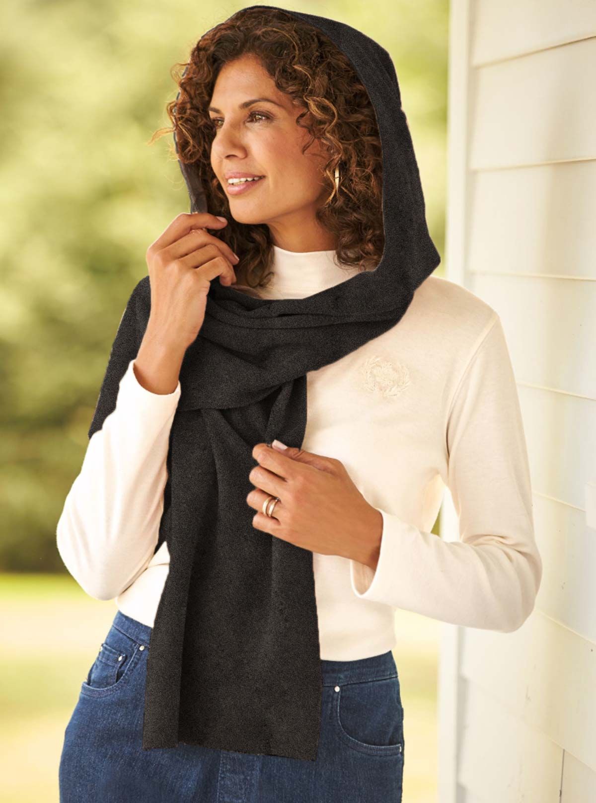 Fleece Womens Hooded Wraparound Scarf at Linda Anderson. color_charcoal