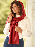Load image into Gallery viewer, Fleece Womens Hooded Wraparound Scarf at Linda Anderson. color_red