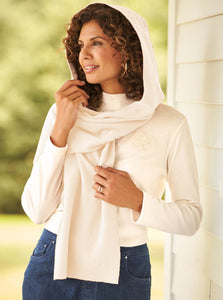 Fleece Womens Hooded Wraparound Scarf at Linda Anderson. color_white