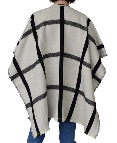Women Plaid Fur Pocket Ruana by Marcus Adler