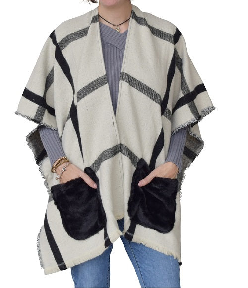 Women Plaid Fur Pocket Ruana by Marcus Adler at Linda Anderson