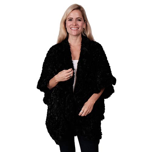 Le Moda Soft Faux Fur Shawl Poncho - One Size at Linda Anderson. color_black