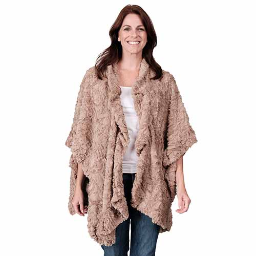 Le Moda Soft Faux Fur Shawl Poncho - One Size
