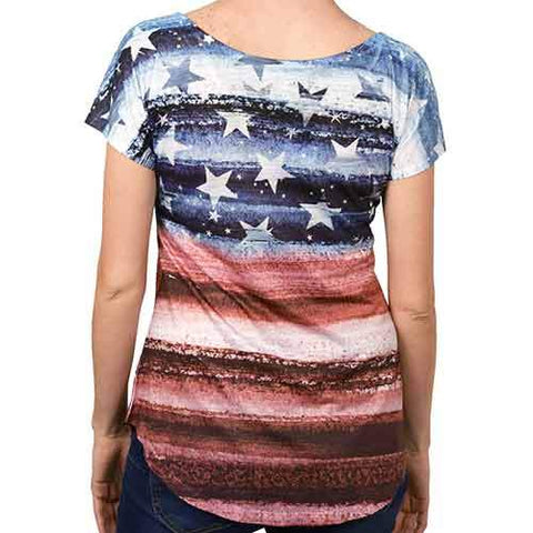Ladies Flag Horizon with Rhinestones T-Shirt