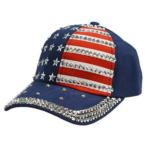 Women's USA Rhinestones Ball Cap (HH)