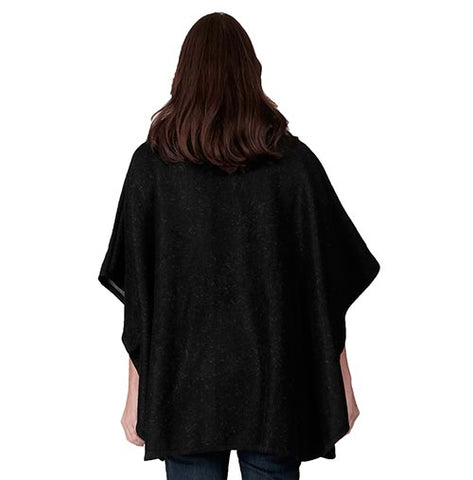 Le Moda Faux Fur Button up Poncho with fur pockets and collar - One Size