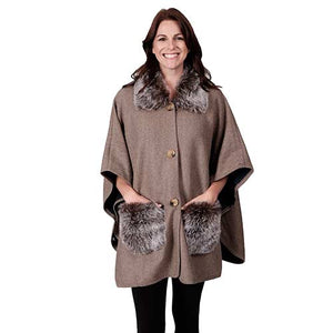 Le Moda Faux Fur Button up Poncho with fur pockets and collar - One Size at Linda Anderson