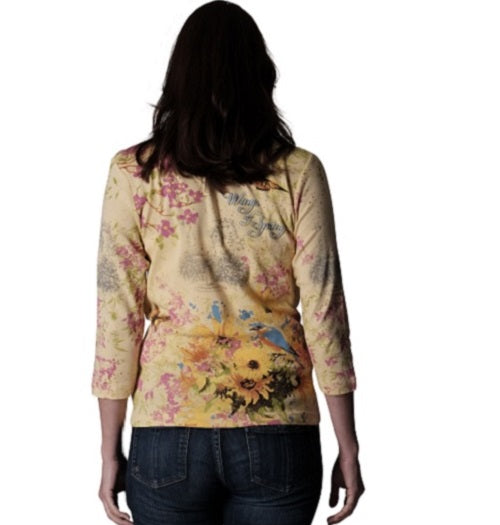 Womens Spring Sights Top- 100% Cotton Tee at Linda Anderson