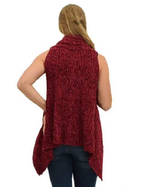 Le Moda Sleeveless Chenille Vest - Burgundy at Linda Anderson