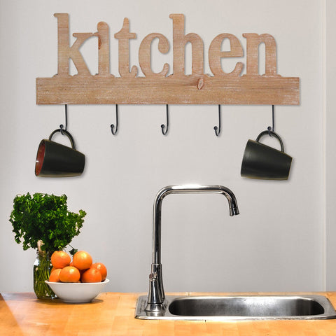 Wood 'Kitchen' Wall Hooks