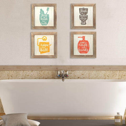 Set of 4 'Floss, Flush, Wipe, Wash' Wall Art