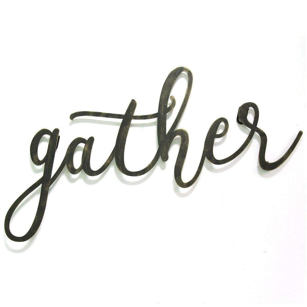 "Black ""Gather"" Script Wall Decor"