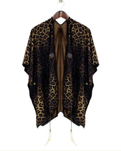 Womens Leopard Reversible Ruana at Linda Anderson